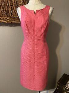 Talbots Waffle Texture Pink Cotton Silk Sheath Dress 10P 10 P