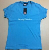 Harley-Davidson Women's Aqua Blue V-Neck Ribbed Shirt  XL