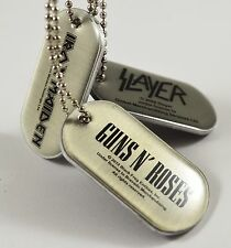 Set of 3 Metal Dog Tags Official Band Merch. Slayer, Iron Maiden, Guns n Roses