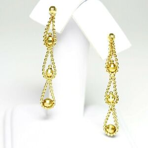 Beautiful 10K Yellow Gold Faceted Beaded Dangle Pierced Earrings