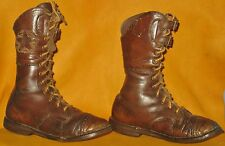 "VINTAGE COLLECTIBLE BOYS LACE UP & BUCKLES HIGH TOP LEATHER SHOES w/STAR 8 1/4""H"