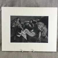 1860 Stampa The Entombment Gesù Cristo Tiziano Pittura Originale Antico