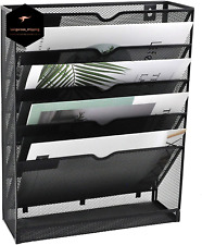 New Listinghanging Wall File Holder Mail Organizer Wall Mount Document 5 Tier Black