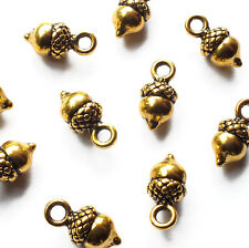 10 x Mini Little Acorn Charms Pendant 13mm x 6mm Gold Plated Metal Winter Craft
