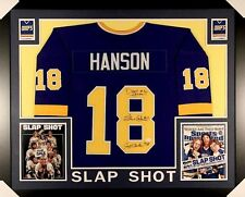 "Hanson Brothers Signed ""Slap Shot"" Chiefs 35x43 Custom Framed Jersey Signed by 3"
