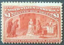 $1.00 Columbian (Scott 241) bottom stamp from Never Hinged strip of 3 cat $3,400