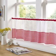 "RED AND WHITE GINGHAM 59"" X 18"" – 150CM X 45CM KITCHEN CAFE CURTAIN PANEL"