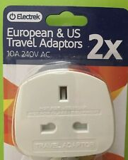 UK To EU & USA Approved Travel PLUG Adaptor Plug 2 Pin Holiday 2 Pack Free Post
