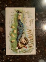 ANTIQUE POSTCARD EASTER CHILDREN LAMB EGGS FARM SAILOR EMBOSSED EASTER GREETINGS