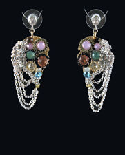 Mosaic Chandelier Chain Drop Earrings with Multi-Color Glass Beads 5101 SALE