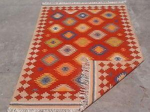 Hand Woven Wool Rug Turkish Kilim Dhurrie Afghan Oriental Area Rug 8x10 feet