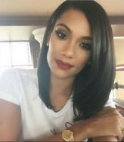 Women Natural Straight Short Bob Full Wig Lace Front Wigs 100% Human Hair Wigs