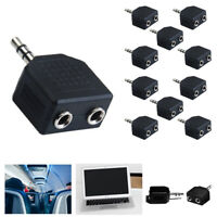 10X Headphone 2 Way Y Splitter Stereo Plug Adapter 3.5mm Mono Male 2 Female Jack