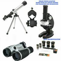 TELESCOPE FOR LUNAR  STAR OBSERVATION + MICROSCOPE + BINOCULARS + PHONE MOUNT