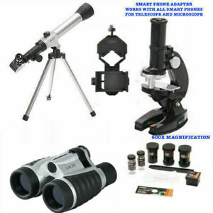 TELESCOPE FOR LUNAR  STAR OBSERVATION + MICROSCOPE + BINOCULARS + PHONE MOUNT