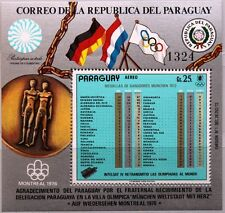 Paraguay 1973 blocco 199 S/S c353 Summer Olympics 1972 Medals Total Results MNH