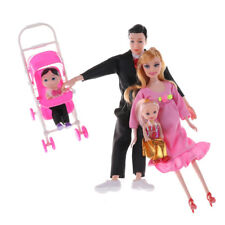 Toys Family 5 People Dolls Suits 1 Baby Carriage Real Pregnant Doll Gifts CAEP*