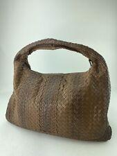 BOTTEGA VENETA Brown Woven Leather Single Handle Bag