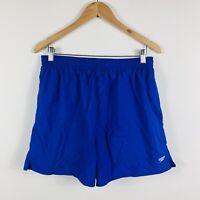 Speedo Mens Swim Shorts Size XL (36) Blue Elastic Waist Drawstring With Pockets