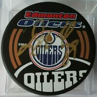 UNKNOWN SIG! smeared DOUG WEIGHT ? EDMONTON OILERS SIGNED NHL HOCKEY PUCK NO COA