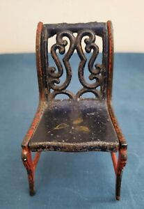 Vintage/Antique Doll Chair Miniature Dollhouse Old Metal Nice For Display