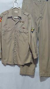 Vintage Us Army Mens Khaki Uniform Shirt Pants  70s Military Patches Pins