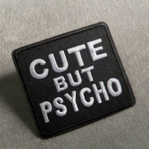 CUTE BUT PSYCHO Embroidered Sew On Iron On Black Patch Badge Fabric Applique Cap