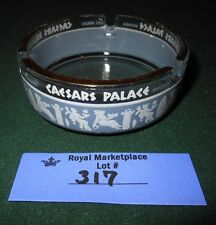Vintage Round Glass Ceasars Palace Ashtray 1970's Blue White Lettering