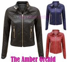 Zip Faux Leather Quilted Coats & Jackets for Women