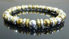 Magnetic Hematite Bracelet Gold Silver IPG Plated