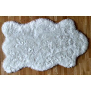 Shaggy Shag Plush Polar Bear Area Throw Rug Faux Fur Bear Skin White 5'x7' Pelt