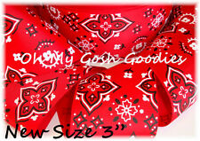 "3"" RED BANDANA COWGIRL COWBOY WESTERN PATRIOTIC GROSGRAIN RIBBON 4 HAIRBOW BOW"