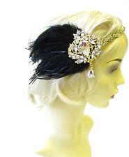 Black Gold Silver Feather Headpiece 1920s Headband Flapper Great Gatsby Vtg 1824