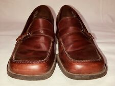 Bandolino  Womens Brown Leather Chunky Heel Loafer Strap Buckle Shoes 8.5 M