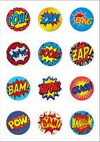12 Large 50mm Superhero Retro Pow Zap Comic Edible Wafer Paper Cake Toppers