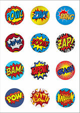 12 Large 50mm Superhero Retro Pow Zap Comic Edible Wafer Paper Cake Toppers