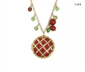$48 Betsey Johnson Necklace The Summer Picnic Pie Surprise pendant BH1o