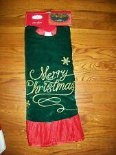"Trim A Home Christmas Tree Skirt 48"" Holiday Green Gold Velvet & Red Satin"