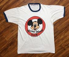 VTG 80s Mickey Mouse Club Ringer T-Shirt Tee Walt Disney RARE Graphic