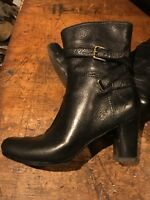 Nine West Ladies Black Leather ankle boots size 6 UK/8 US -worn