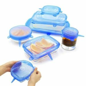 12PCS Silicone Stretch Lids Suction Lid - Multi Size Stretchable Cover Bowl UK