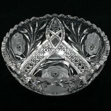 American Brilliant Cut Glass Bowl White Rose by Irving Antique 1900s Victorian