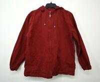 Christopher & Banks Womens Full-Zip Drawstring Slash Pocket Hooded Jacket L