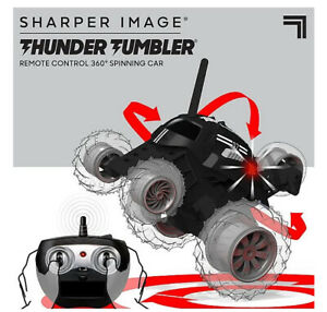 Thunder Tumbler Wireless Remote Control Spinning Car by Sharper Image Black New