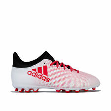 adidas Junior Boys X 17.3 Artificial Grass Football Boots in White Black Red