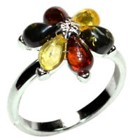 3g Authentic Baltic Amber 925 Sterling Silver Ring Jewelry N-A7304