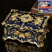 BLUE TIN ALLOY  RECTANGLE  MUSIC BOX   ♫  ONCE UPON A DECEMBER  ♫