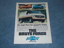 "1979 Chevy G10 G20 Sport Striping Vintage Ad ""Our Tough Chevy Van..."""