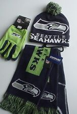 NFL Seattle Seahawks Scarf-Cap-Gloves  Logo Apparel Gift Set Authentics (CLBL)