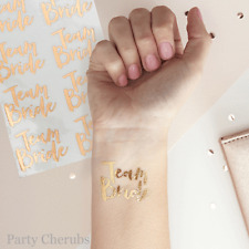 Hen Party Team Bride Temporary Tattoos x 16 - Team Bride - Rose Gold